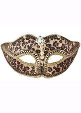 Leopard Print Masquerade Mask - Gold Genuine Forum Novelties - New