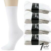 3 6 9 12 Pair Men's White Athletic Sports Cotton Crew Work Socks Size 9-11 10-13