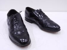 Vintage DEXTER Mens 9.5 Black Leather Wingtip Oxfords Dress Shoes MADE IN USA