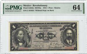 P-S1043c 1915 1 Peso, Mexico, Revolutionary PMG 64 Nice!