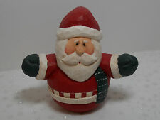 Eddie Walker Carved Santa Figure Midwest of Cannon Falls Open Arms, Green Scarf