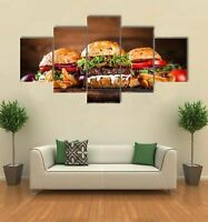 Fast food Burgers Restaurant 5 Piece Canvas Wall Art Poster Print Home Decor