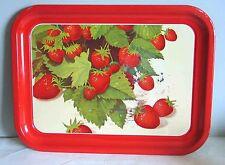 "Ripe Strawberries Metal Serving Lap Tray 13.75x10.5"" Fruit Harvest Free Sh"