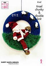 Christmas Sleepy Santa Wreath Tinsel Toy Knitting Pattern King Cole 9147