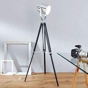 Dreibein Stehleuchte Stehlampe Standleuchte Studioleuchte E27 Holz Metall