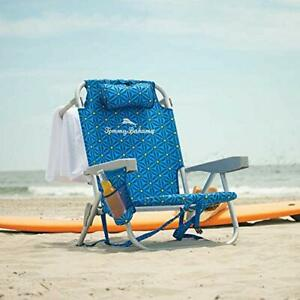 Tommy Bahama Back Pack Beach Chair Folding Backpack Deck Chair Blue