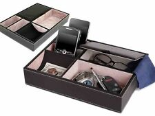 Fineway@ 5 Compartment Leather Valet Tray Mens Dresser Wallet Office Jewellery