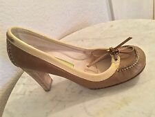 Materia Prima By Goffredo Fantini Brown Beige Trim Leather Pump Women's Sz 36 M.