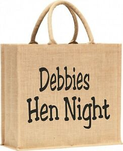 Personalised Hen Night LARGE Sized Shopping Jute Tote Style  bag with Handles