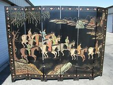Vintage Oriental Asian Chinese Carved Painted Coromandel 6 Panel Room Divider