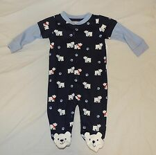 NEW Baby Polar Bear Pajamas w/feet Size 0-3 Months Cotton Winter Christmas Blue