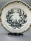 Vintage Decorative Hand Painted Plate From HELLAS Greece Green & Black, Olives