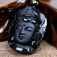 Chinese Natural Obsidian Hand-Carved Lucky Amulet Buddha Necklace Pendant