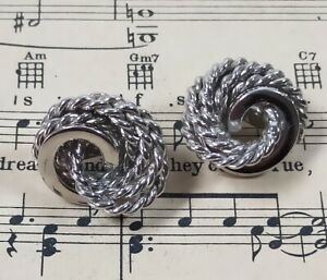 Monet Silver Tone Vintage Ear Rings Clip on 1970s / 1980s Retro Rope Knot Style