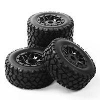 4Pcs 1:10 RC Rubber Tires&Wheel 17mm Hex For TRAXXAS SLASH Short Course Truck