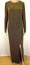 Ralph Lauren Womens 8 Gold Black Metallic Ruched Long Gown Dress