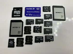 JOBLOT OF USED MEMORY CARDS, SD CARDS ETC - MIXED SIZES - SOLD AS SEEN