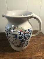 """VTG Yesteryears Hand-Turned/Painted Crock/Pottery Pitcher 8"""" MARSHALL Pottery TX"""