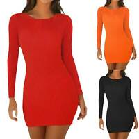 Women Long Sleeves Ribbed Pullover Bodycon Mini Sweater Pencil Dress Club Party
