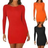 Womens Plain Long Sleeve Round Neck Slim Fit Bodycon Mini Dress Casual Clubwear