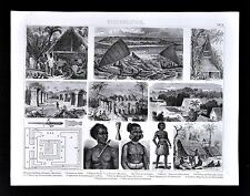 1874 Anthropology Print - Polynesian Pacific Cultures - Caroline Islands  Ponapi