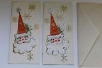 2 Vintage NOS Christmas Greeting Cards With 1 Envelope Unused - Santa Fuzzy