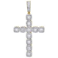 "14K Yellow Gold Diamond Fancy Statement Cross Pendant 2.55"" Miracle Set 2 CT."
