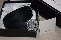 New Gucci Women's Black Leather Swarovski Crystal GG Buckle Skinny Belt 120cm