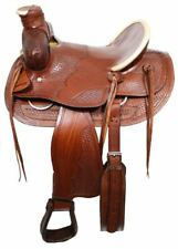 "Bear Trap Wade Style Ranch Saddle Basket Weave Tooling and White Rawhide 16"" NEW"