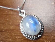 Moonstone 925 Sterling Silver Pendant w/ Rope Style Accents Corona Sun Jewelry