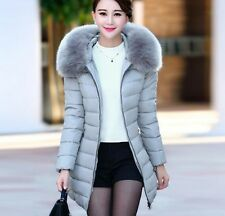 Fashion Winter Women Down Cotton Parka Long Fur Collar Hooded Coat Jacket
