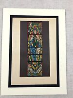 1857 Print Stained Glass Trinity Cathedral France Antique Chromolithograph