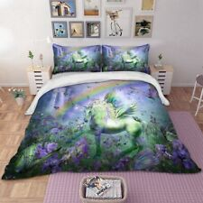 Green Animal Quilt/Duvet Cover Set Queen Size Unicorn Doona Covers Pillowcases