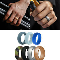 7PCs Silicone Flexible Men Women Ring Band Fitness Sport Wedding Ring 07AU