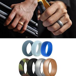 7PCS/ Men Silicone Wedding Ring Band Rubber Women Flexible Gifts Comfortable