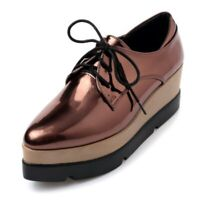 Womens Creppers Beogue Oxfords Platform Wedge Heels Lace Up Patent Leather Shoes