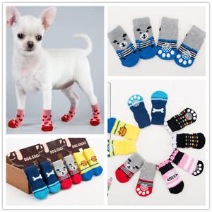 Puppy Dog Soft Pet Knits Socks 4pcs/Set Cute Cartoon Anti Slip Socks Warm Shoes
