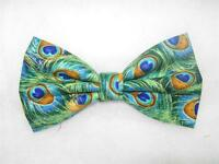 (1) PRE-TIED BOW TIE- PEACOCK FEATHERS ON JADE WITH METALLIC GOLD HIGHLIGHTS