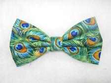 Peacock Feathers Bow tie / Jade Feathers & Metallic Gold / Pre-tied Bow tie