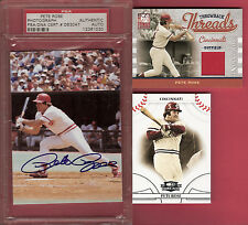 PETE ROSE REDS PSA AUTOGRAPH AUTO +#d GAME USED JERSEY + 2008 THREADS CARD CINCY
