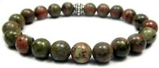 BRACELET - UNAKITE 8mm Round Crystal Bead with Description - Healing Reiki Stone