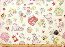 """RILEY BLAKE VINTAGE BABY TOYS DOLL TEAPOT CAT FLORAL FABRIC 1/2 YD 18""""X44"""" CREAM"""