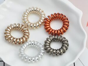10 Spiral Coil Jelly Elastic Hair Scrunchies Telephone Cord Ponytail Holder 36mm