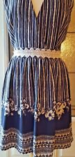 Soieblu Women's Dress Size Large Short Sleeve V Neck  Navy Blue and Lace Summer