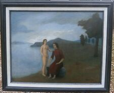 Young Nude Woman with Mother in Landscape Surreal Oil Painting-1940s-Gar Sparks