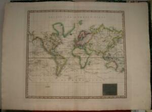 WORLD TRACKS & DISCOVERIES 1814 THOMSON LARGE ANTIQUE COPPER ENGRAVED WORLD MAP