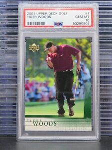 2001 Upper Deck Tiger Woods Rookie Card RC #1 PSA 10 PGA Tour (02) M9