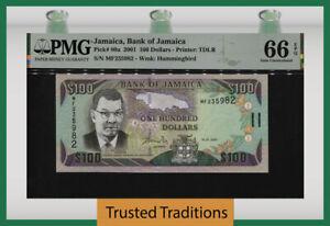 TT PK 80a 2001 JAMAICA BANK OF JAMAICA 100 DOLLARS PMG 66 EPQ GEM UNCIRCULATED!