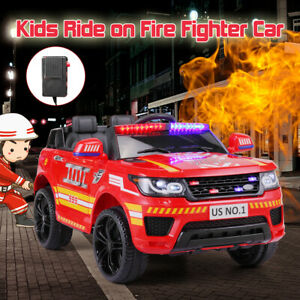 12V Electric Fire Truck Kids Ride On Car SUV Toy RC Car w/Remote Siren Music Red