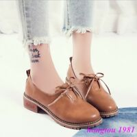 Retro Womens Round Toe Lace Up Flats Casual Oxfords Shoes Preppy Ladies Girls SZ